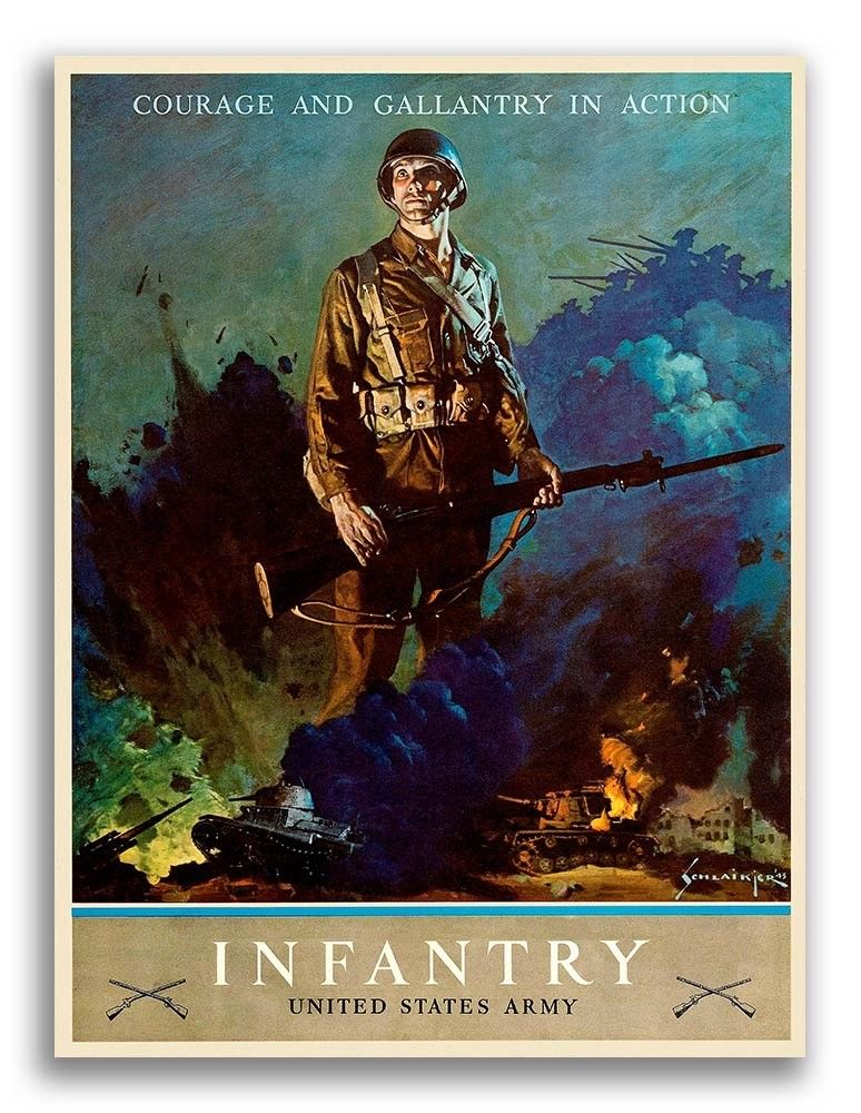 World War 2 recruiting poster for the US Infantry.